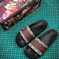 Gucci Bee Stripe Slipper Slide Sandals