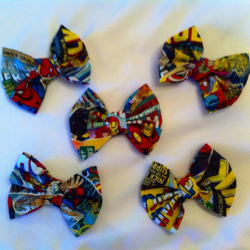 Pack of 5 - Marvel Superhero Small Fabric Hair Bows, Avengers, Spiderman, Thor, Iron Man, Hulk, Captain America, Wolverine, X-Men, Comics