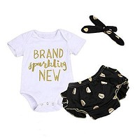 3Pcs /Set Baby Clothing Set Infant Newborn Baby Girls Romper +Polka Dot Shorts +Headband Sun-suit Clothes Outfit