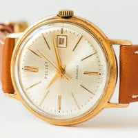 Vintage men's wristwatch Poljot de Luxe automatic gold plated AU 20  rare dial caramel leather watch Soviet
