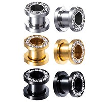BodyJ4You 3 Pairs Screw Fit Ear Gauge Hollow Tunnels 00G (10mm) Clear CZ Crystal Jeweled Plugs Stretcher Set