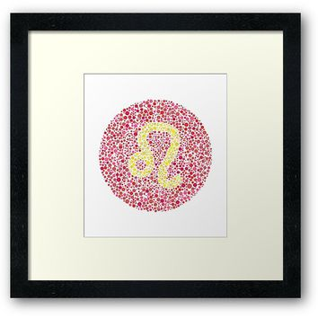 'Leo Eye Test Zodiac Symbol' Framed Print by Cornea-Designs