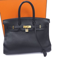 100% Auth Hermes Birkin 35 Hand Bag Togo Leather Black GHW Y348