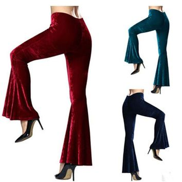 Women's  Velvet Bell Bottom Pants - Stage & Performance Wear - Free Shipping