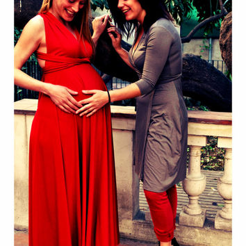 Ready To Ship Baby Shower Long Dress, Baby Shower Red Maternity Infinity  Dress, For