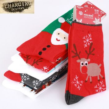 New Women's Snowflake Deer Printed Cotton Casual Socks Ladies Female Girl Men Christmas Gift Hosiery One Size EUR 35-41