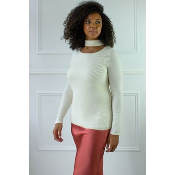Cut Out Cashmere Turtle Neck Sweater