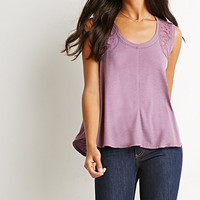 Lace-Paneled Slub Knit Tank
