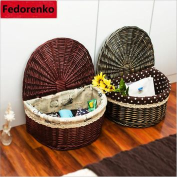 Wicker Baskets with Lid, storage boxes sundries organizer