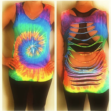 Neon Rainbow Tye Dye Tank Top - Tie Dye Tank Top with Slit Style Back - Unisex Adult Sizes S-XL. Perfect for the Beach or Swim Cover up