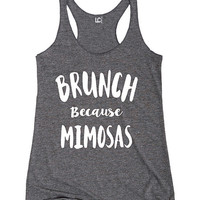 Sharp Wit Athletic Heather Brunch because Mimosas Racerback Tank | zulily
