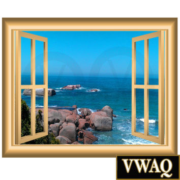 Ocean Scene 3D Window Frame Family Wall Art Vinyl Decal Rocky Beach Wall Decal Window Frame Peel and Stick Mural NW84