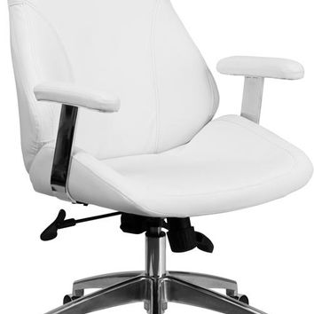 Mid-Back White Leather Smooth Upholstered Executive Swivel Office Chair with Arms [BT-90068M-WH-GG]