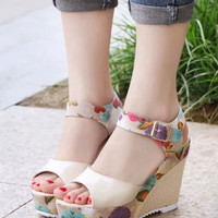 White Wedge High  Heel Shoes