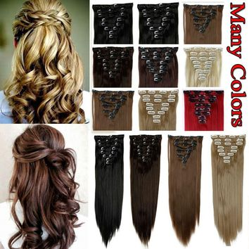 Hot Ombre Real Thick 18Clips Clip in Full Head Hair Extensions As Human Hair B85