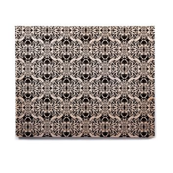 "Mydeas ""Illusion Damask Black & White"" Monochrome Birchwood Wall Art"