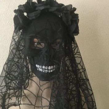 Mask,Black Veiled Skull Mask,Black Skull Mask,Spooky Mask,Black Skull Party Mask,Halloween Mask,Fantasy Mask,Goth Mask