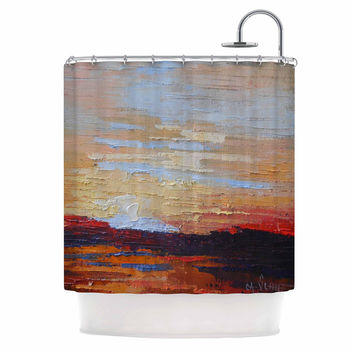 "Carol Schiff ""On The Rise"" Blue Orange Painting Shower Curtain"