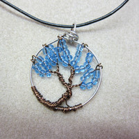Tree of Life, sapphire blue beads - September wire jewelry Circle of Life