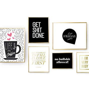 SET of 6 Prints, Life Quote Set, Bedroom Decor, Gold Foil Print, Home Decor, Coffee Poster, Motivational Quote, Office Art, I Am Very Busy