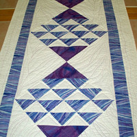 Modern Table runner quilted- Shades of Blue -  Ocean Waves - a little bit wonky  - Quilted Table art - Dresser Scarf