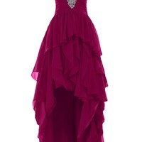 Sunvary 2015 High Low Ruffled Prom Evening Dresses Chiffon Bridesmaid Dress Mother of the Bride Gowns - US Size 20W- Fuchsia
