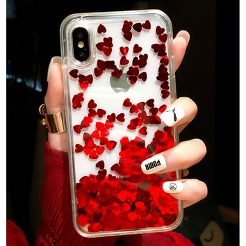 Cute Shiny Glitter Moving Quicksand Liquid Clear Soft TPU Phone Case Cover For iPhone X / iPhone 6 6s 7 8 Plus Phone Accessories