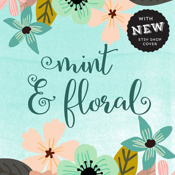 Premade Etsy Banner ~ Shop cover ~ Floral Graphics Branding ~ Shabby shop cover ~