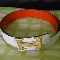 HERMES 32 MM BELT GOLD H GUILLOCHE BUCKLE REVERSIBLE 90