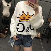 DCCK6HW D&G' Women Casual Fashion Letter Crown Pattern Long Sleeve Knitwear Sweater Loose Tops