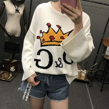 VLXZGW7 D&G' Women Casual Fashion Letter Crown Pattern Long Sleeve Knitwear Sweater Loose Tops