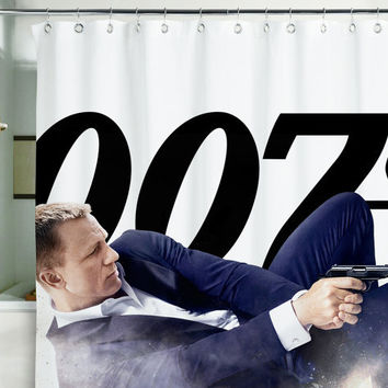 "Shower Curtain Bond James agent 007 spy skyfall bondiana 71x71""(180x180cm)"