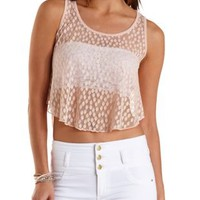 Dotted Lace High-Low Tank Top by Charlotte Russe