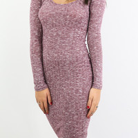 Cabin Retreat Long Sleeve Wine Sweater Dress With Keyhole Cutout