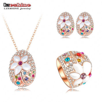 LZESHINE Brand Romantic Jewelry Sets Rose Gold Color Necklace&Pendant/Earring/Ring Enamel Flower Jewelry Set Aretes ST0137-A