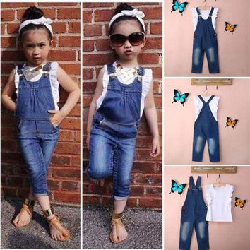 Vest + Jeans Girl Summer Clothes Set Dungarees Vest Tops White Overalls Denim Sleeveless Outfits Children Clothes Fall