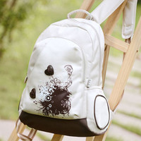 Leaves Printed With Loving School Bag Waterproof Strong Backpack