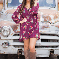 James Dean Daydream Long Sleeve Floral Shift Dress (Plum)