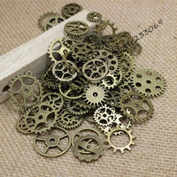 50 pcs Vintage steampunk Charms Gear Pendant Antique bronze Fit Bracelets Necklace DIY Metal Jewelry Making (Size: One Size, Color: Bronze)