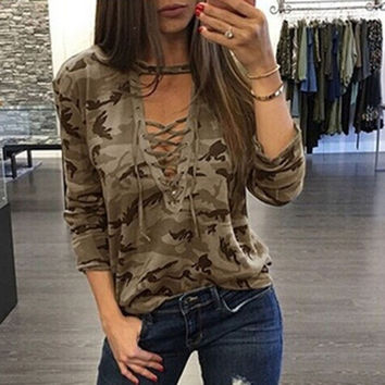 Long Sleeve Tops Hot Sale Sexy Camouflage V-neck T-shirts