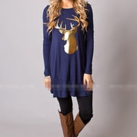 Long Deer Print Round Neck T-Shirt