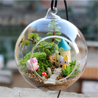 2016 New Clear Round Glass Vase Hanging Bottle Terrarium Hydroponic Decor Holder