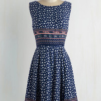 ModCloth Mid-length Sleeveless A-line Get Your Day in Border Dress