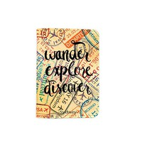 Wander Explore Discover Visa Stamps [Name Customized] Leather Passport Holder/Cover/Wallet_SCORPIOshop