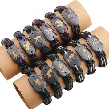 12 pcs/lot Handmade Braided Zodiac Signs Ox Bone Bracelet For Women Men, Adjustable Constellation Leather Bracelet