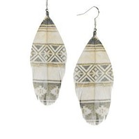 River Island Printed Feather Earrings at asos.com