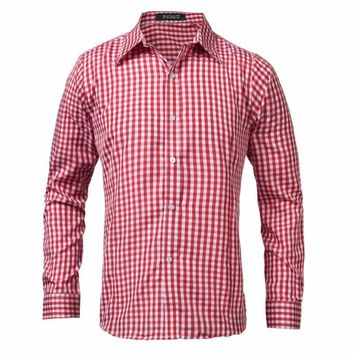 Spring Autumn Men Long Sleeve Shirt Casual Brand New Formal Business Office Plaid Mens Lapel Dress Shirts Male Top Chemise 2018