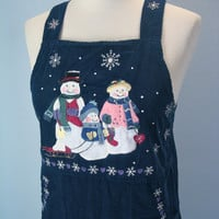 80s Ugly Christmas Jumper Dress / Corduroy Jumper Dress / Embroidered Snowman Snowflake / Small
