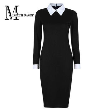 Ladies Casual Work Dress With White Collar