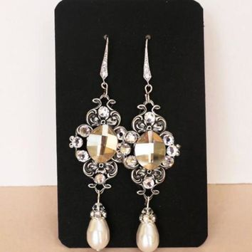 Swarovski Golden Shadow Crystal Bridal Earrings Vintage Style Wedding Jewellery MAE